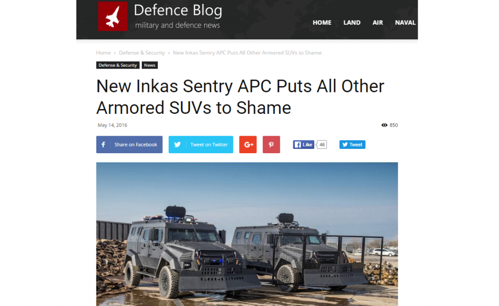 INKAS Sentry Defence Blog