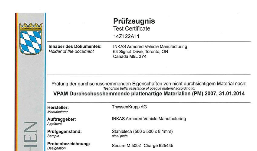 INKAS-VPAM-steel-certificate