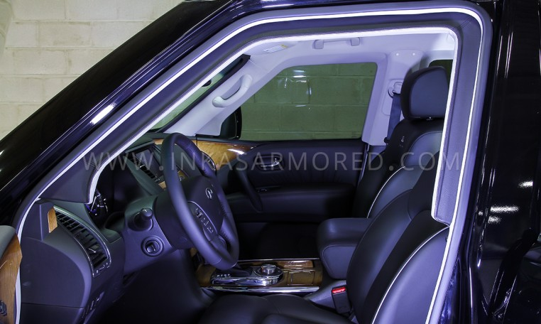 Armored Infiniti QX80 SUV Front Cabin