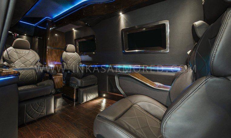 Armored Mercedes-Benz Sprinter Limousine Dark Interior