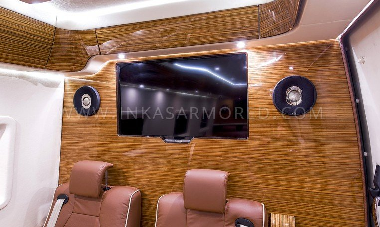Armored Mercedes Sprinter TV and Speaker system