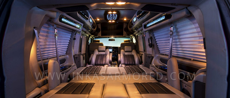 Armored GMC Van Limousine Interior Cabin