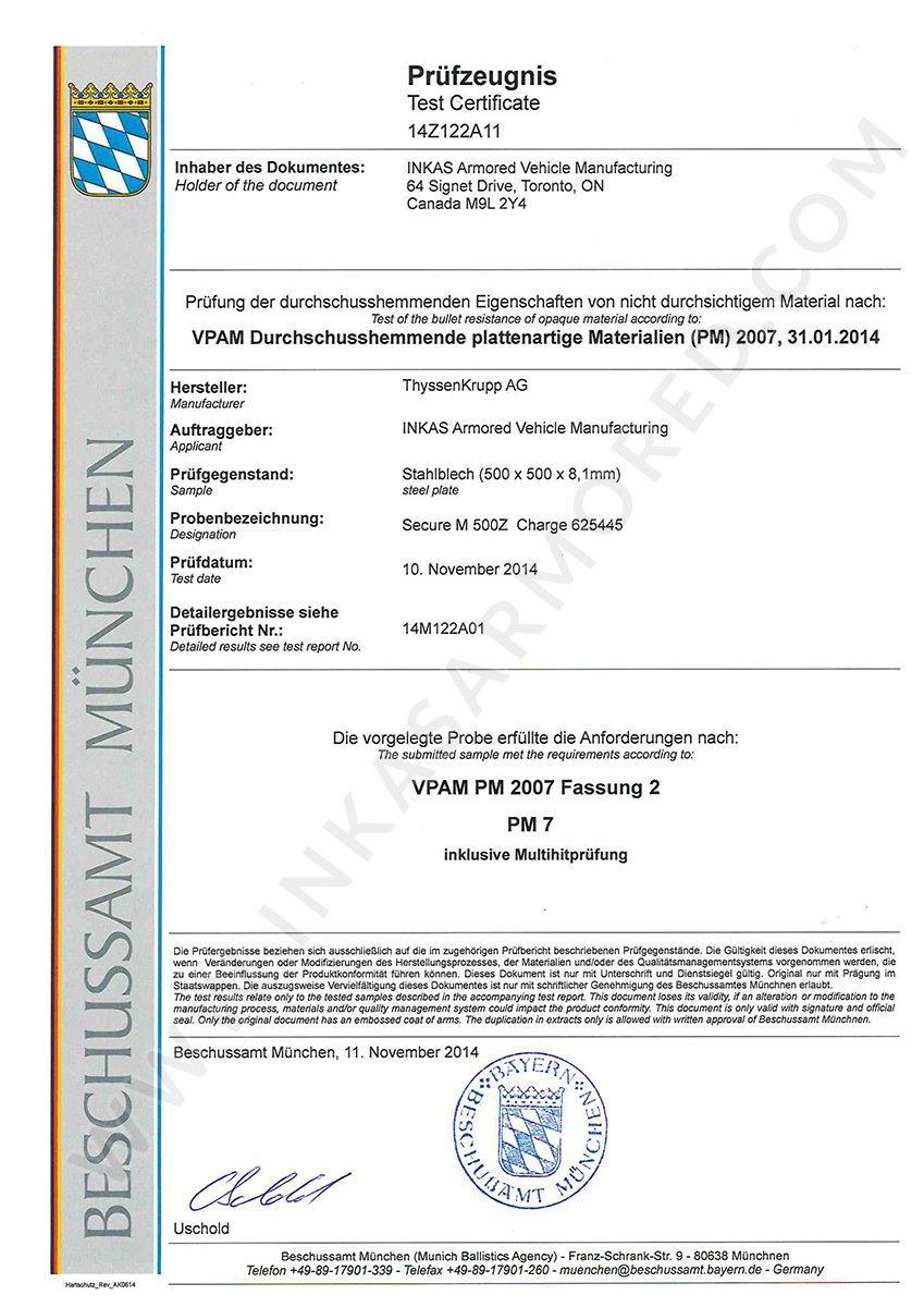 inkas vpam steel certificate