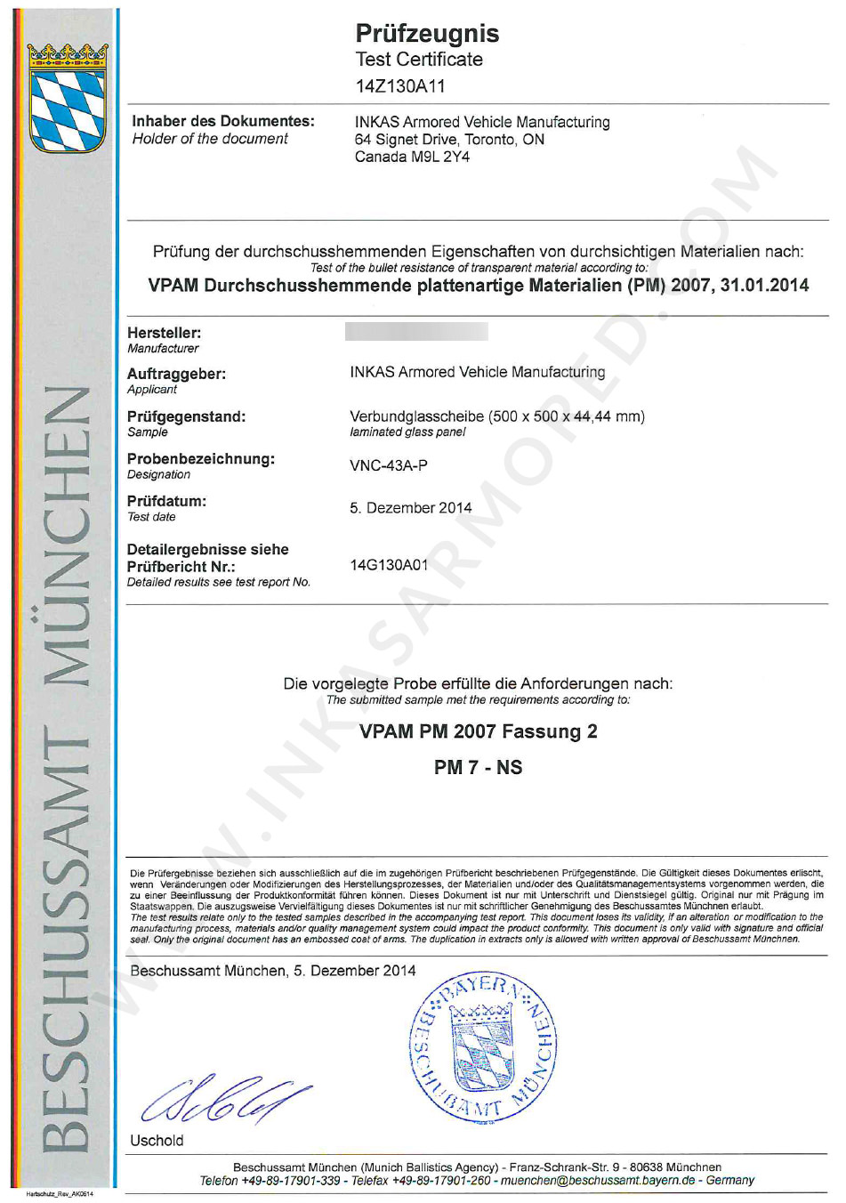 vpam  glass certificate